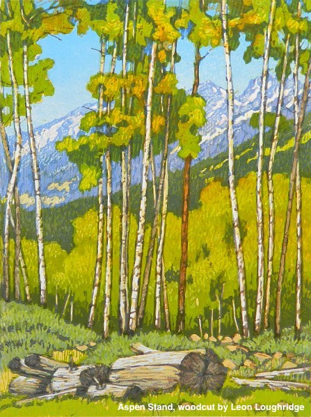 Aspen_Stand_Woodcut_by_Leon Loughridge